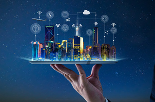 Waiter hand holding an empty digital tablet with Smart city with smart services and icons