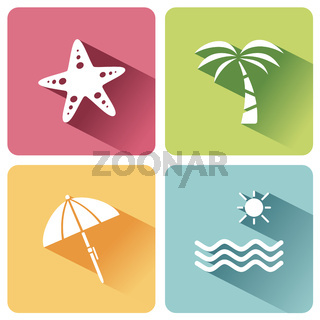 Four summer and tourism icons set with shade. First group