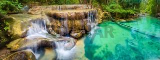 Beautiful waterfall at Erawan national park, Thailand. Panorama