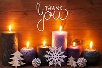 Purple Candle, Christmas Ornament, Calligraphy Thank You