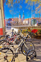 City of Graz bicycles by the Mur river colorful view