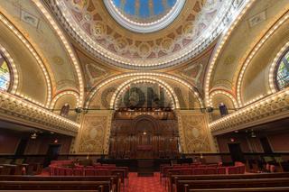 San Francisco, California - April 28, 2018: Interior of Congregation Sherith Israel.