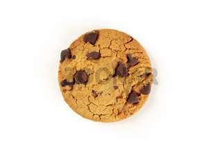 Chocolate chip cookie, gluten-free, shot from above on a white background