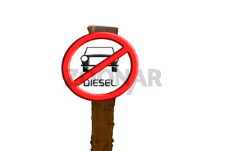 Sign Diesel cars prohibited against blue sky and sun.