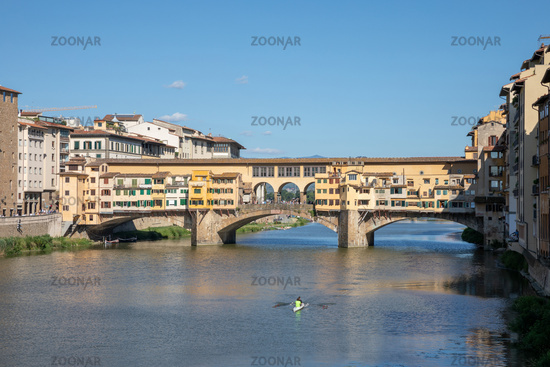 Panoramic view on Ponte Vecchio (Old Bridge)