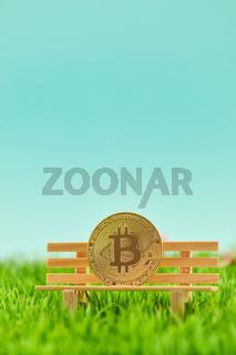 Bitcoin Münze auf Bank vor Himmel Hintergrund
