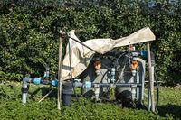 Liquid fertilizer tanks for apple orchard fertilizing.