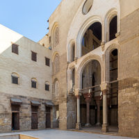 Courtyard of public historic mosque of Sultan Qalawun, Moez Street, Medieval Cairo, Egypt