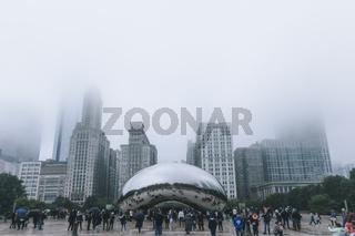 Chicago, USA - November 5, 2017: Fog Settling over Millenium Park Cloud Gate Monument Cloudy Day