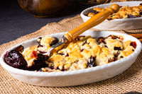 Cinnamon prunes with crumble