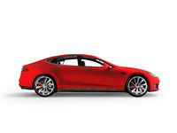 Modern electric car red side 3d rendering on white background with shadow