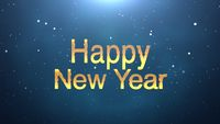Happy New Year text on blue background