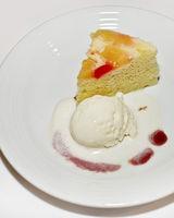 Fruit cake with vanilla ice cream