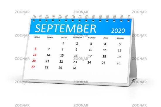 table calendar 2020 september