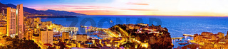 Monte Carlo cityscape colorful evening panoramic view from above