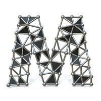 Wire low poly black metal Font Letter M 3D