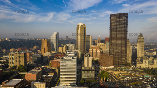 Aerial View From East Side Downtown Buildings and Architecture of Pittsburgh Pennsylvania