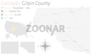 Map of Gilpin County in Colorado