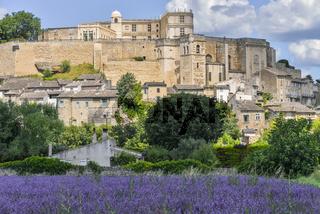 Auf einem Hügel gelegenes Dorf Grignan mit Lavendel