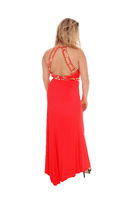 Lovely young woman from the back in red dress