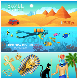 Horizontal banners set, Egypt landscape, tourism and vacation