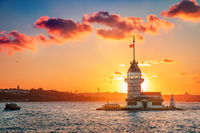 Maiden's tower at sunset time - Istanbul