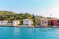 Kuzguncuk district of Istanbul, beautiful view of the Bosporus shore