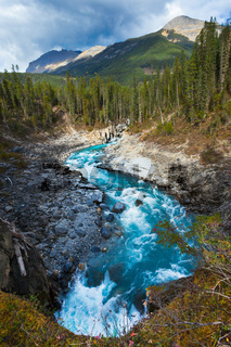 A mountain and river in the Canadian Rockies