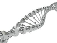 DNA Helix with gear instead molecules transmitted. Genetic modify science and medicine concept 3d illustration