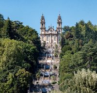 Multiple sets of stairs to Our Lady of Remedies church above the city of Lamego