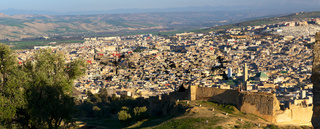Aerial panorama of Medina in Fes, Morocco