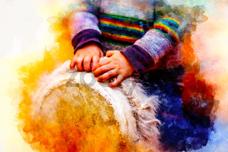 child playing a djembe drum with natural goat fur features and softly blurred watercolor background.