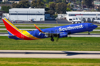 Southwest Airlines Boeing 737-800 airplane San Jose airport
