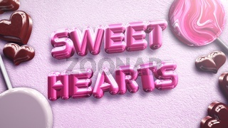 Closeup Sweet Hearts text and romantic heart on Valentines day shiny background
