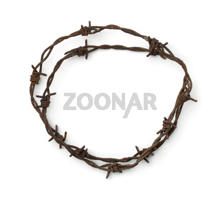 Top view of rusty barbed wire