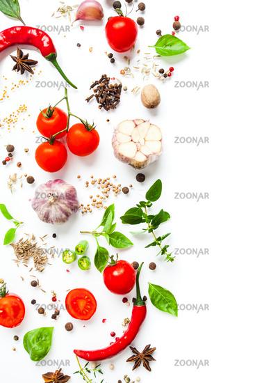 Border for italian cuisine menu design isolated on white