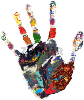 Colored hand print