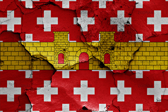 flag of Regencos painted on cracked wall