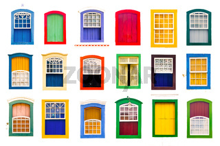 Collage of colorful rustic vintage wooden windows