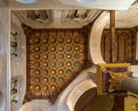 Ceiling of Mausoleum of Sultan Qalawun with golden floral pattern decorations, Medieval Cairo, Egypt