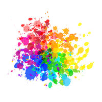 Bright colorful paint splashes of watercolor drops in rainbow colours on white