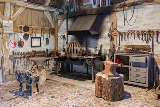Dutch rural open-air museum with smithy and historical tools
