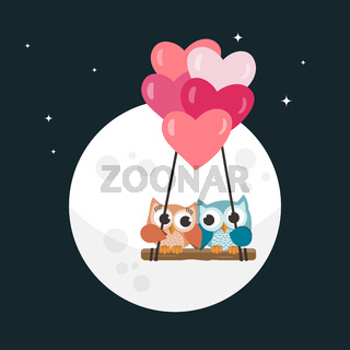 Valentine owls in love and the moon