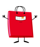 happy Shopping bag  cartoon character mascot