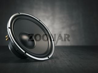 Loudspeaker.  Multimedia acoustic sound speaker on black background.
