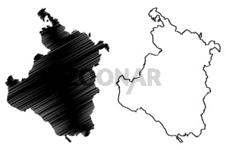 Karlovac County (Counties of Croatia, Republic of Croatia) map vector illustration, scribble sketch Karlovac map