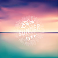 Sea sunset. Seascape background. Enjoy Summer time. Vector Illustration.
