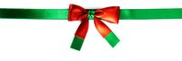 Red green ribbon bow isolated on white
