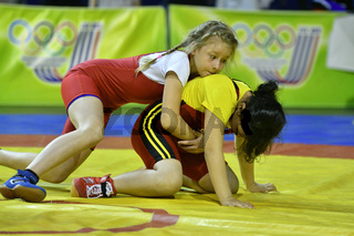 Orenburg, Russia-May 5, 2017 year: Girls compete in freestyle wrestling