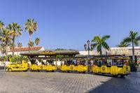 Parrot park train collecting customers, Puerto De La Cruz, Tenerife